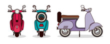 Scooter Motorcycles Set Vector...