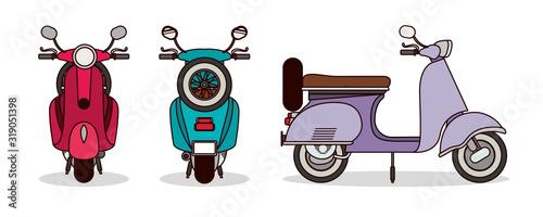 Fotografija scooter motorcycles set vector design