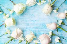Set Of White Roses On Aquamari...