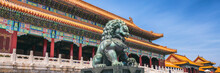 China Travel Banner Beijing City Famous Destination Panorama Landscape With Building And Lion Statue.