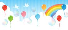 青空に風船と虹 横長