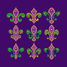 Fleur De Lis Symbol Collection With  Gemstone