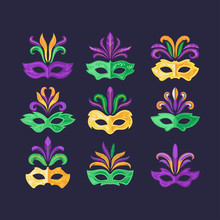 Set Of Mardi Gras Masks
