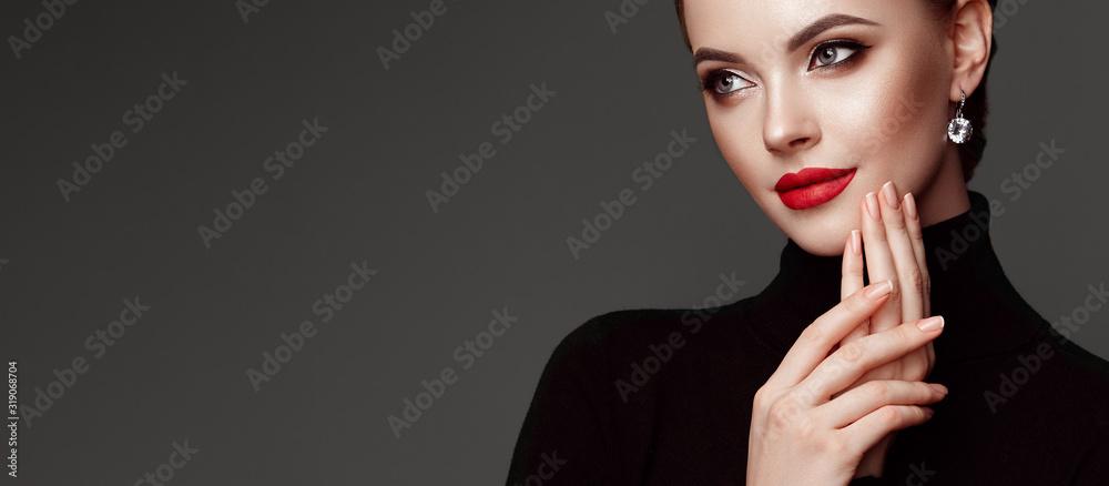 Fototapeta Beautiful Young Woman with Clean Fresh Skin. Perfect Makeup. Beauty Fashion. Red Lips. Cosmetic Eyeshadow. Girl in Black Turtleneck