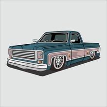 Vector Illustration Retro,classic,vintage Pick Up Car,chevrolet