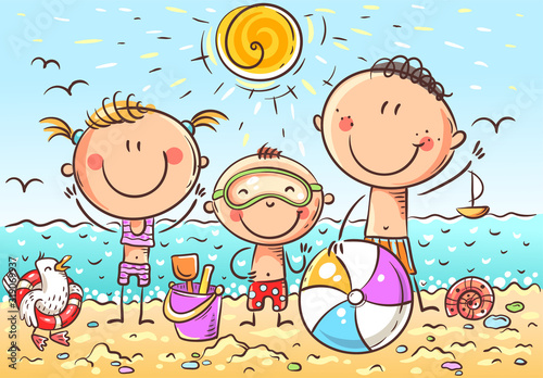 Happy kids at the seaside, doodle drawing, vector Fototapet