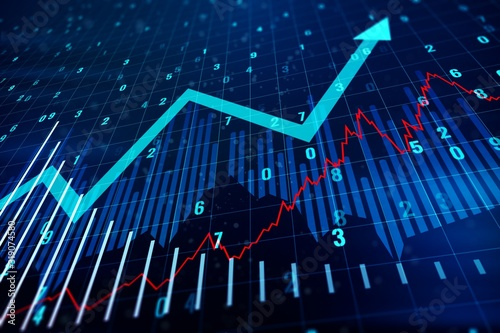 Fototapeta Financial chart with upward arrow. Growth and Progress Concept. 3D Rendering obraz