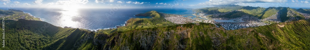 Fototapeta Aerial panorama of the island of Oahu as seen from the Koko Head mountain with Hanauma Bay and Honolulu city in the frame. Hawaii
