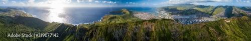 Fototapeta Aerial panorama of the island of Oahu as seen from the Koko Head mountain with Hanauma Bay and Honolulu city in the frame. Hawaii obraz
