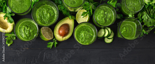 Ingredients for cooking detox food with green smoothies