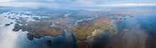 Aerial Panorama Of The Delta Of The River Of Volga Near The Village Of Karalat, Astrakhan Region, Russia
