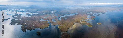 Aerial panorama of the delta of the river of Volga near the village of Karalat, Canvas Print