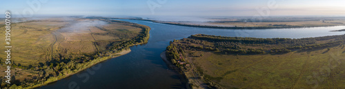 Photo Aerial panorama of the river of Buzan, Astrakhan Region, Russia
