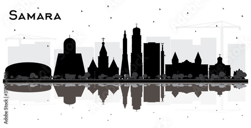 Samara Russia City Skyline Silhouette with Black Buildings and Reflections Isolated on White Canvas-taulu