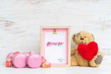 Mockup Picture Frame For Fitness Healthy Lifestyle With Valentines Day & Love Season Background Concept. Mock Up Photo Frame With Pink Dumbbells, Measurement Tape And Cute Bear Doll And Red Heart.