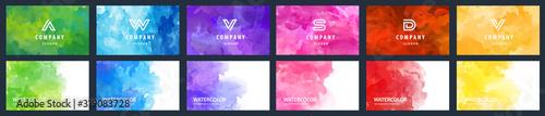 Fototapeta Big set of beauty vector colorful watercolor backgrounds for business card, brochure or flyer obraz na płótnie