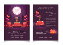 Valentines Day Flyer, Invitation Card For Romantic Dinner For Couple. Vector Set Of Cartoon Posters, Banners With Illustration Of Restaurant Interior With Flowers, Candles And Heart Shape Balloons