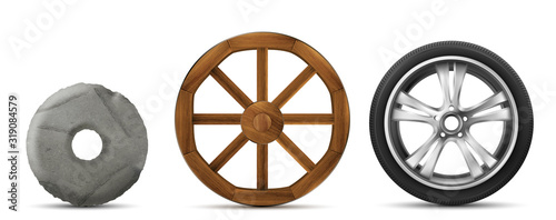 Fotomural Wheels evolution from primitive stone ring, ancient wooden to modern car tire with disk