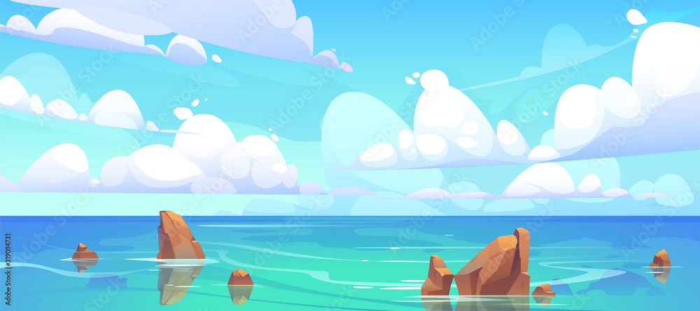 Fototapeta Sea landscape with stones in water and clouds in blue sky. Vector cartoon illustration of coastal ocean with rocks. Seascape of rocky shore on island