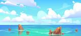 Fototapeta Fototapety z morzem do Twojej sypialni - Sea landscape with stones in water and clouds in blue sky. Vector cartoon illustration of coastal ocean with rocks. Seascape of rocky shore on island