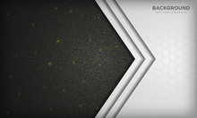 Abstract White And Black Dimension Overlap Background With Hexagon Pattern On Shiny Golden Radial Halftone. Vector Illustration.