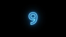 Number 9 Blue Neon Light Backg...