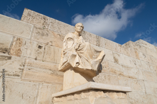 Athens, Greece - Dec 20, 2019: Sculpture of Menander (Meandros) of the Theatre of Dionysus Eleuthereus at Acropolis of Athens Canvas Print