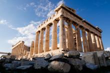 Athens, Greece - Dec 20, 2019: Parthenon At The Acropolis Of Athens, Greece