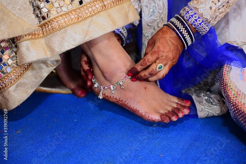 Woman Wearing Anklet On Bride Ankle Canvas Print