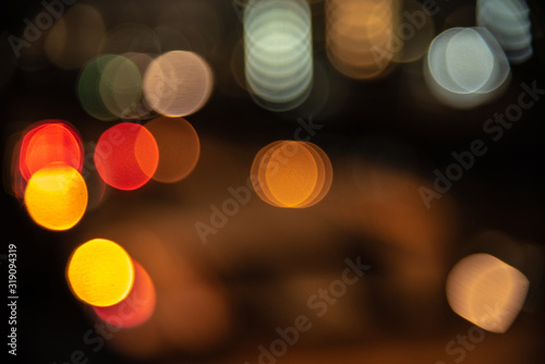 Photo Defocused Image Of Illuminated Lights At Night