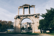 Athens, Greece - Dec 21, 2019: The Arch Of Hadrian (Hadrian's Gate), Athens, Greece