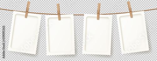 Cuadros en Lienzo Vector banner with realistic retro photo frames
