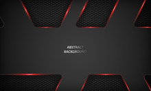 Abstract Metallic Red Black Background. Modern Tech Design Template Background.