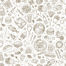 Beer And Pub Food Vector Pattern. Hand Drawn Doodle Food