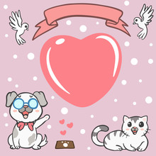 Greeting Card, Postcard With Cute Cartoon Cat And Dog