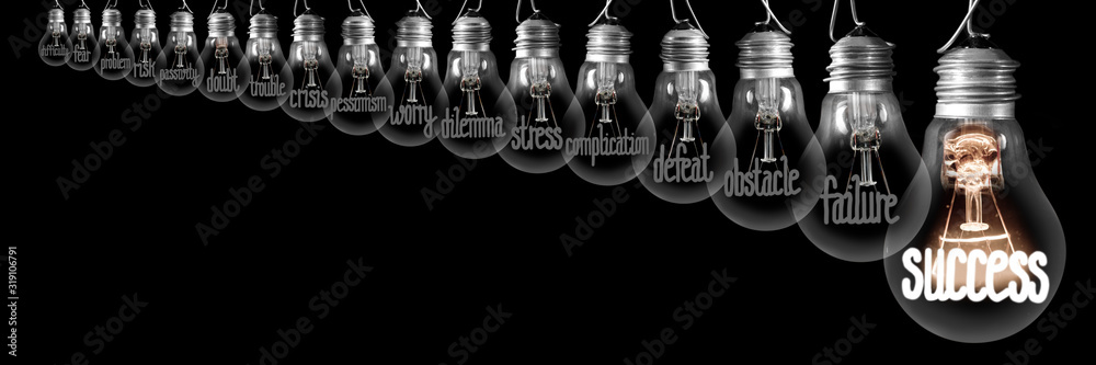 Fototapeta Light Bulbs with Difficulties and Success Concept