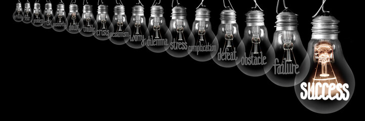 Light Bulbs with Difficulties and Success Concept
