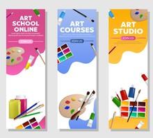 Kids Art Craft, Education, Creativity Class Concept.