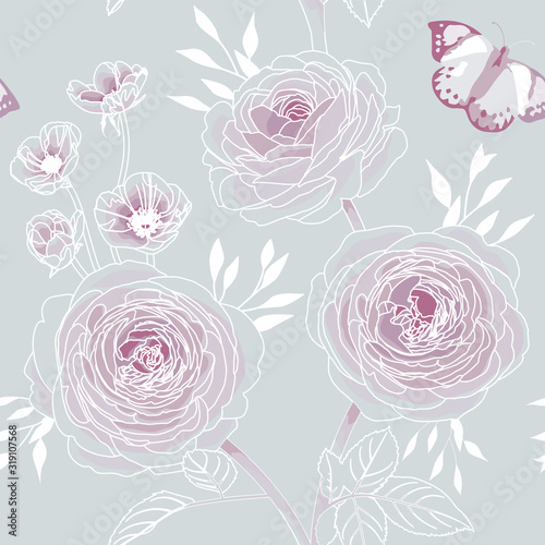 Tapeta różowa  rose-flower-seamless-pattern-wallpaper-on-grey-background-purple-floral-pattern-for-wallpaper-or-fabric-vector