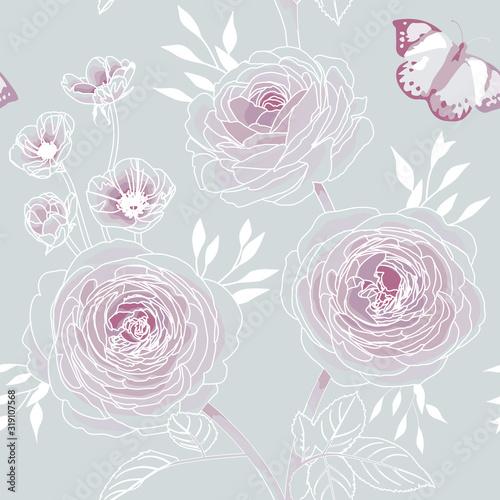 Tapeta różowa  rose-flower-seamless-pattern-wallpaper-on-grey-background-purple-floral-pattern-for-wallpaper