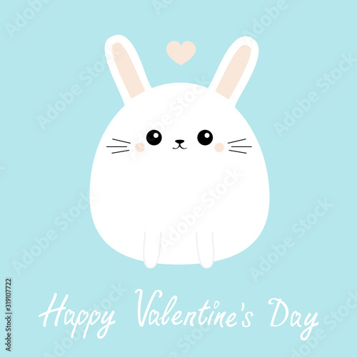 Happy Valentines Day. White bunny rabbit icon. Funny head face. Cute kawaii cartoon round character. Pink heart. Baby greeting card template. Blue background. Flat design.