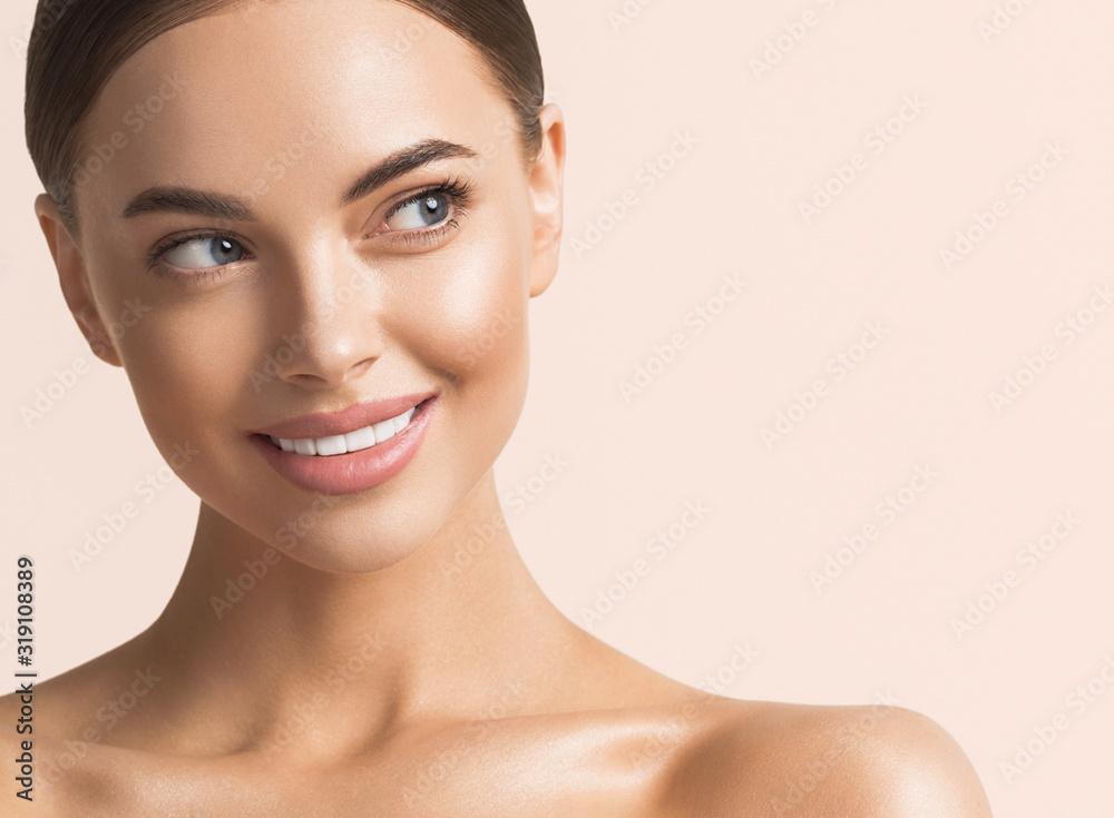 Fototapeta Healthy teeth smile woman beauty face natural make up