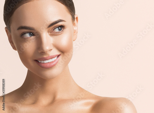 Healthy teeth smile woman beauty face natural make up