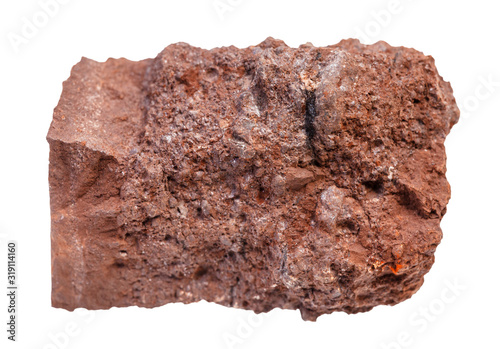 Photo piece of raw Bauxite ore isolated on white