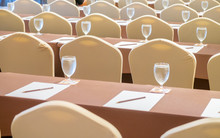 Full Frame Shot Of Empty Chairs And Table At Seminar