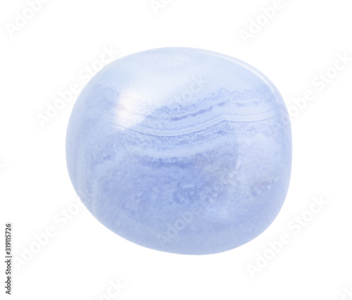 Photo polished blue lace agate (Chalcedony) gemstone