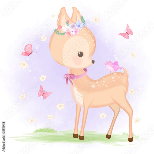 Photo Cute baby deer with bird and butterfly hand drawn animal illustration watercolor