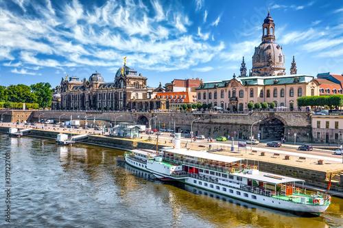 Canvastavla Elbterrassen  und Elbschifffahrt Dresden