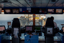 Anchor Handler Vessel Siem Amethyst Bridge View At Oil Rig Transocean Prospect  During An Offshore Job In The North Sea May 2015