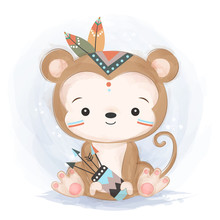 Adorable Monkey Illustration For Personal Project,background, Invitation, Wallpaper And Many More